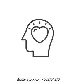 Head with heart line icon, outline vector sign, linear pictogram isolated on white. In love symbol, logo illustration