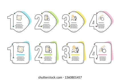 Head, Heart rating and Discount icons simple set. Swipe up sign. Profile messages, Phone feedback, Sale shopping. Touch down. Business set. Infographic timeline. Line head icon. 4 options or steps