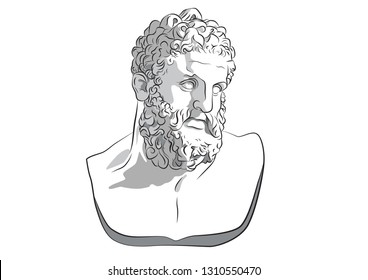 Head of Hercules divine Heracles son of Zeus Jupiter Greece Athens Alcmene mythology Ancient Roman hero and god  Labours statue vector