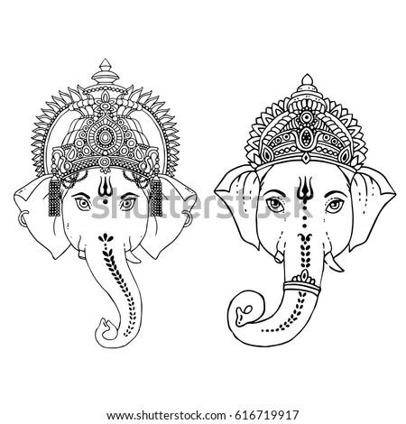 Head Hindu Lord Ganesha Vector Illustration Vector de stock (libre ...