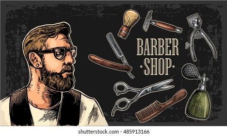 Head hipster and equipment for BarberShop with comb, razor, shaving brush, scissors and bottle spray. Vector hand drawn vintage engraving for poster, label, banner, web. Isolated on dark background
