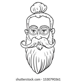 head of a hipsters man with round glasses big mustache and long beard. man bun, outline, cool, casual, comic.