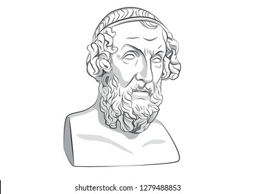 Head of Homer Greece Athens Ancient philosophy legendary author statue sculpture Antique Iliad and the Odyssey literature vector