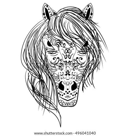 Head Horse Coloring Book Adults Vector Stock Vector Royalty Free - Horse-coloring-pictures
