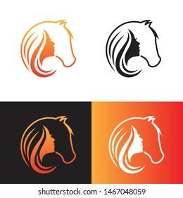 head horse face girl beautyfull logo vector