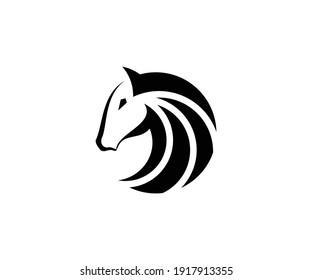 Head and horse hair vector logo in circular style