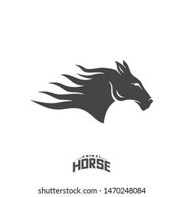 Head Horse logo design vector. Horse Fire logo template. Illustration Vector
