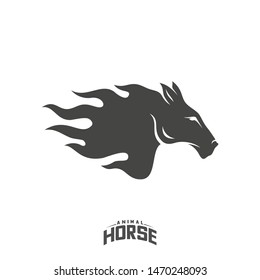 Head Horse logo design vector. Horse Fire logo template. Illustration Vector