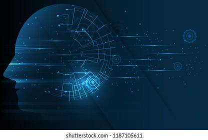 Head of human artificial intelligence digital wireframe dot vector illustration