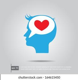 head human think heart in speech vector icon