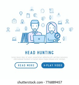 Head hunting concept: hr manager and candidate at interview with thin line icons around. Vector illustration, web page template.