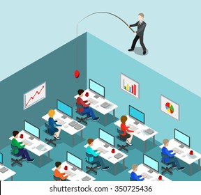 Head hunting flat 3d isometric business HR lifestyle concept web vector illustration. Businessman fishing throwing bait in office interior. Creative people collection.