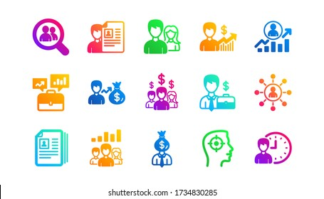 Head Hunting, Job center and User. Human resources icons. Interview classic icon set. Gradient patterns. Quality signs set. Vector