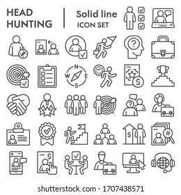 Head hunting line icon set. Job and office collection or sketches, symbols. Corporate business signs for web, outline style pictogram package isolated on white background. Vector graphic