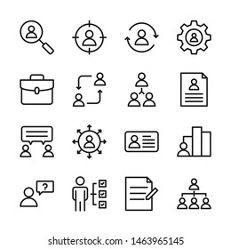 Head hunting line icons set vector illustration. Contains such icon as resume, interview, skill and more. Editable stroke