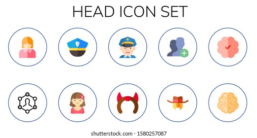 head icon set. 10 flat head icons.  Collection Of - business woman, user, police, girl, policeman, devil, hat, brain icons