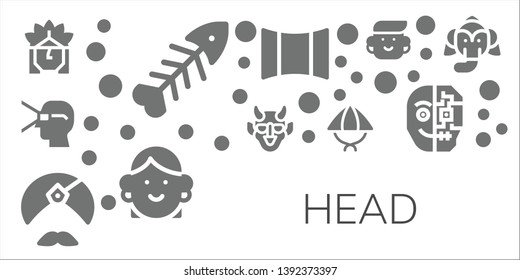 head icon set. 11 filled head icons.  Simple modern icons about  - Indian, Fishbone, Virtual reality, Hannya, Man, Hat, Panoramic, Avatar, Cyborg, Elephant