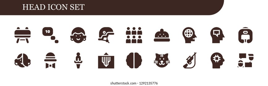 head icon set. 18 filled head icons. Simple modern icons about  - Buck, Thinking, Avatar, Helmet, Team, Bonnet, Head, Mind, Boxing helmet, Hat, Venus, Brain, Cat, Hunting, Talk