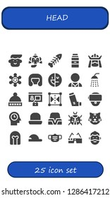 head icon set. 25 filled head icons. Simple modern icons about  - Avatar, Elephant, Fishbone, Milk, Samurai, Sheriff, Boxing helmet, Mental disorder, Psychologist, Shower, Hat