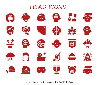 head icon set. 30 filled head icons. Simple modern icons about  - Boxing helmet, Man, Hat, Mind, Talk, Avatar, Indian, Elephant, Shower, Brain, Ladybug, Grandmother, Jolly roger