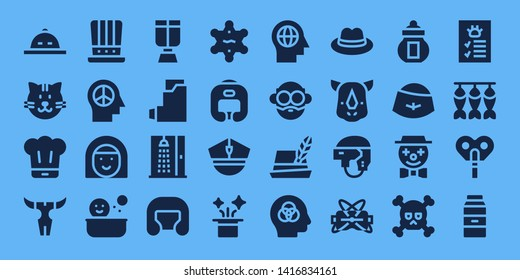 head icon set. 32 filled head icons. on blue background style Simple modern icons about  - Hat, Cat, Chef, Skull, Mind, Avatar, Shower, Oxygen mask, Inhalator, Boxing helmet, Sheriff