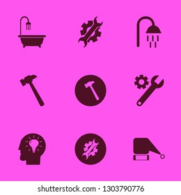 head icon set with shower, santa hat and bathroom shower vector illustration