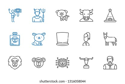 head icons set. Collection of head with man, buffalo, brain, monkey, lion, donkey, user, top hat, rabbit, poison, hat, minotaur, dog, devil. Editable and scalable head icons.