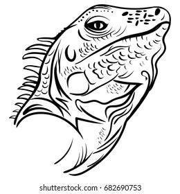 head iguana profile, sketch vector graphics black and white drawing iguana tattoo sketch