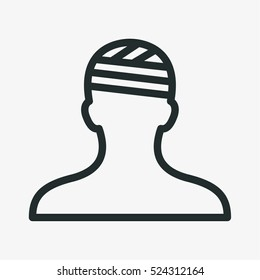 Head Injury Treatment Minimalistic Flat Line Outline Stroke Icon Pictogram Symbol
