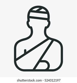 Head Injury Treatment Minimalistic Flat Line Outline Stroke Icon Pictogram Symbol