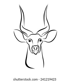 Head of Kudu ink line art. Black and white illustration with head of antelope with cute long horns. Hand drawn sketch. Ink painting. Design element useful for logo. Vector file is EPS8.