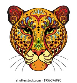 Head of leopard with doodle and zentangle elements. Abstract vector colorful illustration isolated on white background. For design, print, decor, tattoo, t-shirt, puzzle, poster, porcelain and sticker