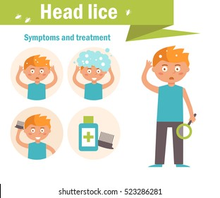Head lice. Symptoms and treatment. Vector. Cartoon character. Isolated. Flat.