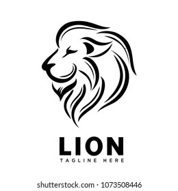 head lion brush art logo