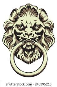 The head of a lion -  door handle. Vector illustration.