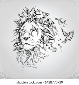 Head of a lion in a floral ornament with birds