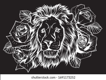 The head of a lion in a flower ornament in black background