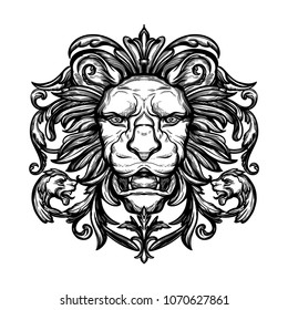 Head of Lion. Isolated vector illustration.