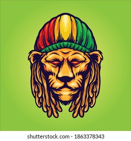 Head Lion with Jamaican hat mascot for your work Logo merchandise clothing line, stickers and poster, greeting cards advertising business company or brands