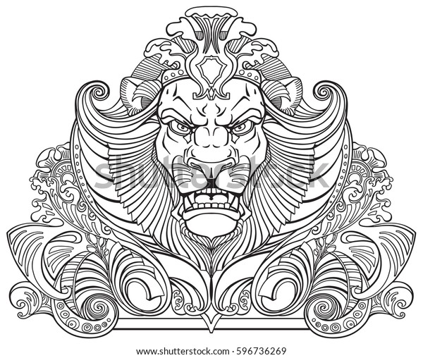 Head Lion King Front View Ornament Stock Vector Royalty Free 596736269 3pcs lion king svg png simba cutting files cricut silhouette nursery print baby shower decor, lion king svg, simba svg. https www shutterstock com image vector head lion king front view ornament 596736269