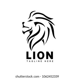 head lion line art logo