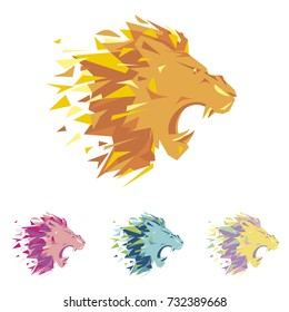 Head of lion is a logo template for the corporate identity of the company's business, sports club, brand of clothing or equipment. The lion growls, opened its toothy mouth. Male serious logo.