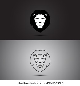 Head lion modern two tone and outline shape logo vector design