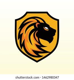 Head lion shiled logo design concept template vector