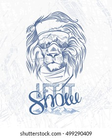 Head of the lion snowboarder and hand lettering let it snow on the grunge background. Use for print, poster, t-shirt  and so on. Vector illustration - Shutterstock ID 499290409