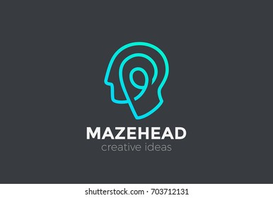 Head Logo abstract design vector template Linear style. Creative Think Brainstorm ideas Logotype concept icon.
