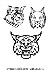 Head logo of a wild bobcat or lynx for mas?ot or wildlife design, isolated on white background