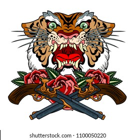 the head of a maliciously roaring tiger