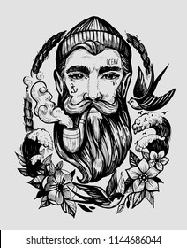 Head of a man with a beard and a smoking pipe. Character of a sailor. Tattoo or print. Hand drawn illustration converted to vector