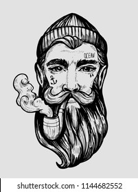Head of a man with a beard and a smoking pipe.Character of a sailor. Tattoo or print. Hand drawn illustration converted to vector